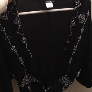 BCBG button down sweater with white beads!